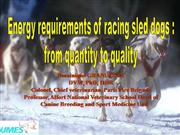 Energy requirements of racing sled dogs