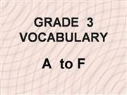 Grade 3 Textbook Vocabulary A - F