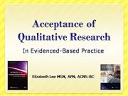 Lee: Acceptance of Qualitative Research in EBP