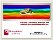 Pros and Cons of Gay Marriage Domestic Partnership