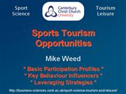 Sports Tourism Opportunities Mike Weed presentatio