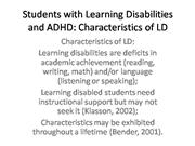 Students with Learning Disabilities and ADHDcharac