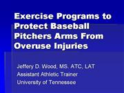 Exercise Programs to Protect Baseball Pitchers Arm