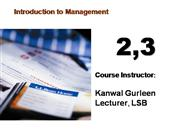 lecture 2,3 (Management)