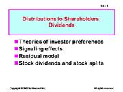 Distributions to Shareholders Dividends
