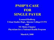 PNHP's Case for Single Payer