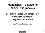 Headache - a guide for clinical pharmacists