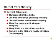 Bethel CEO Ministry - pending approval