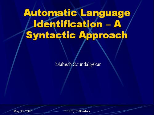 Automatic Language Identification
