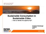 Sustainable Consumption in Sustainable Cities