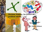 Decision making-essence of problem solving