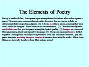 The  Element of Poetry