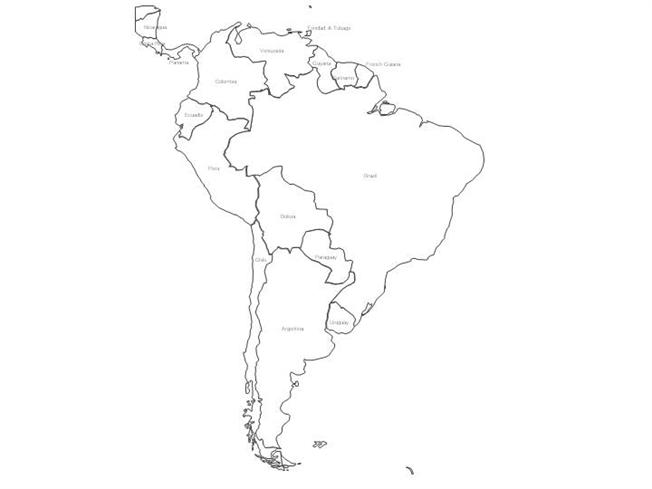 Map Of South America Black And White South America Black & White Map With Countries |authorSTREAM