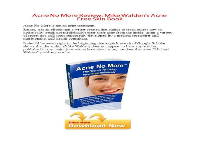 Acne No More By Mike Walden Book