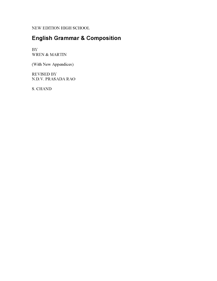 Wren N Martin English Grammar Book Solution