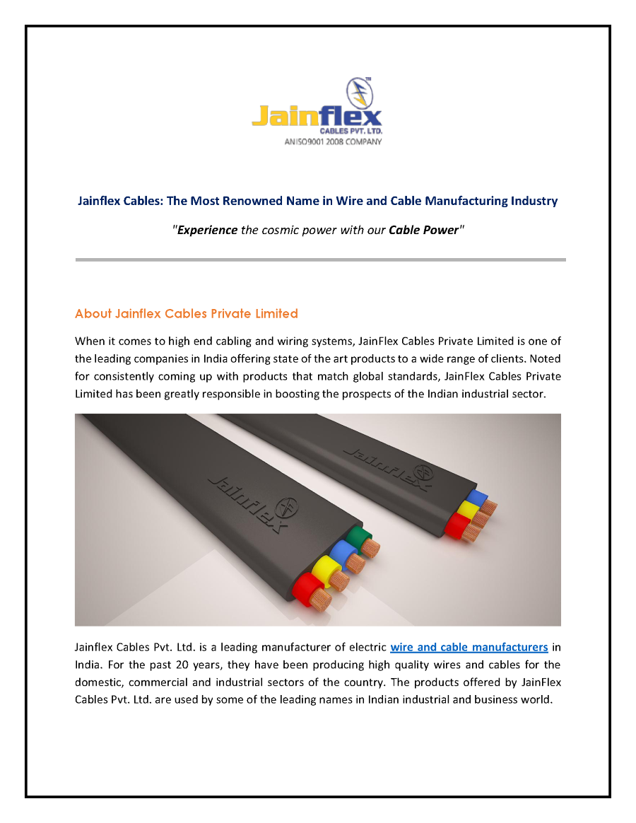 Jainflex Cables Leading Manufacturer Of Wires And Authorstream Wiring Harness Suppliers India Related Presentations