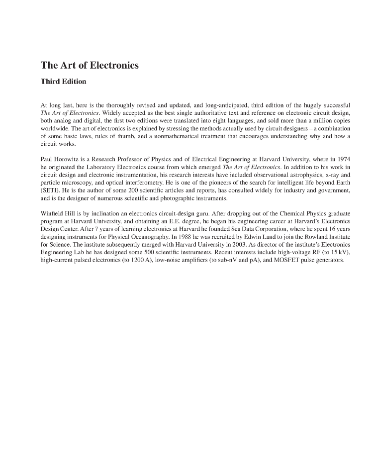 The Art Of Electronics By Horowitz And Hill Pdf