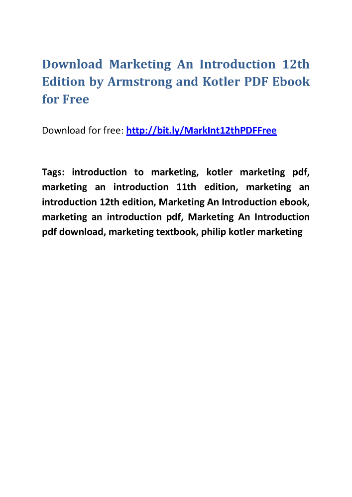Marketing An Introduction Armstrong 11th Edition Pdf