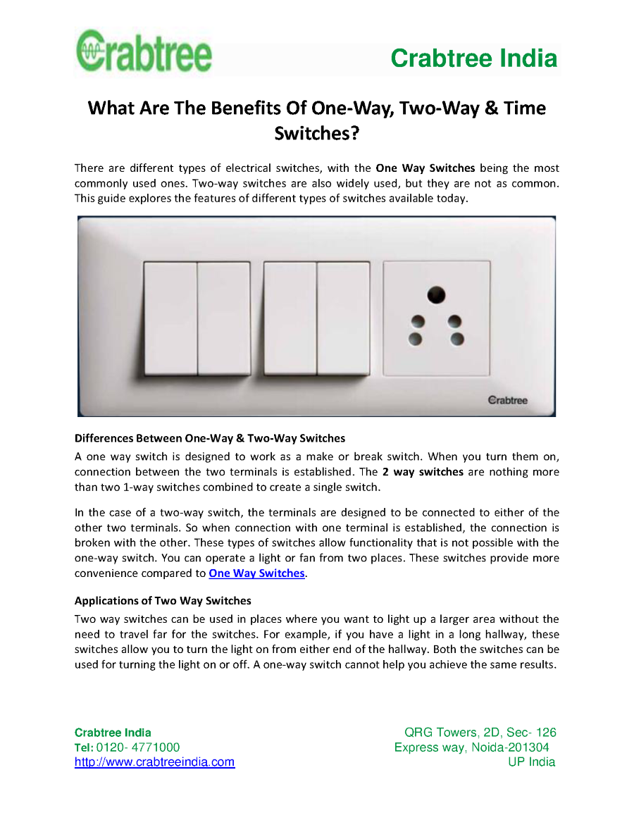 What Are The Benefits Of One Way Two Time Switches Authorstream 2 Switch Working Related Presentations