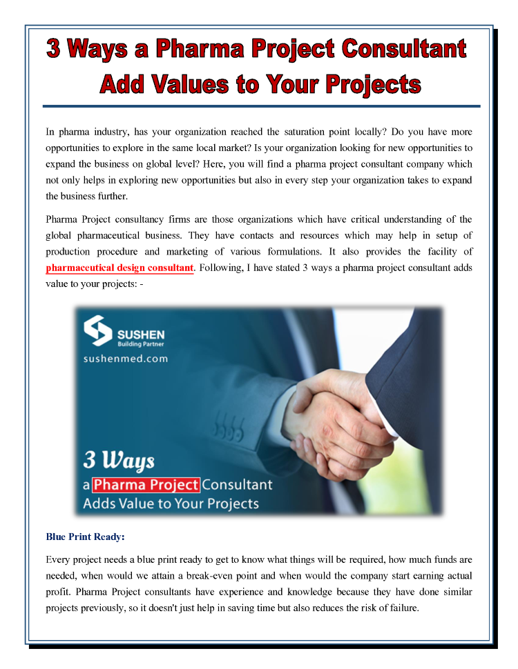 Top 3 Ways A Pharma Project Consultant Add Values To Your Projects Authorstream