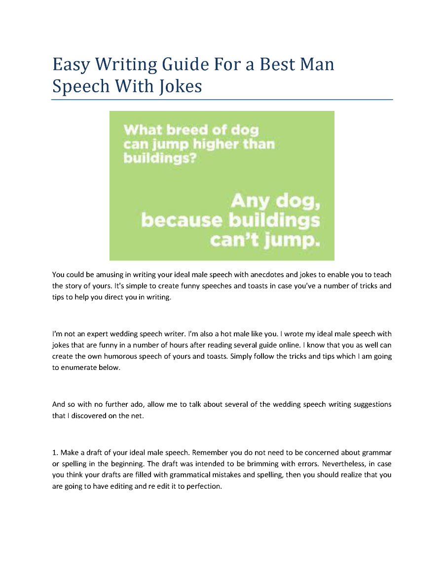 Easy Writing Guide For A Best Man Speech With Jokes Authorstream